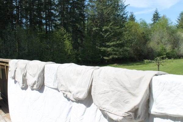 Hang drying couch covers outside saves money