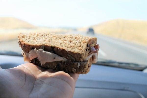Packed lunch of sandwiches on our road trip with our kids.