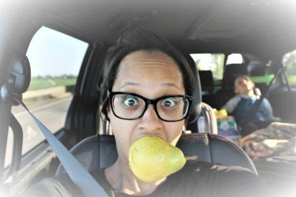 Taking funny pictures of myself on a road trip with kids