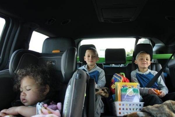 The kids in the car on our Road Trip to Palm Springs
