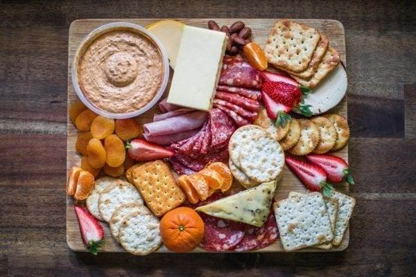 Make your own DIY, cheap meat, cheese and cracker platter for a cheap BBQ idea