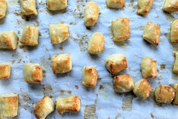 Easy Homemade pretzel bites made without yeast on a baking sheet with parchment paper