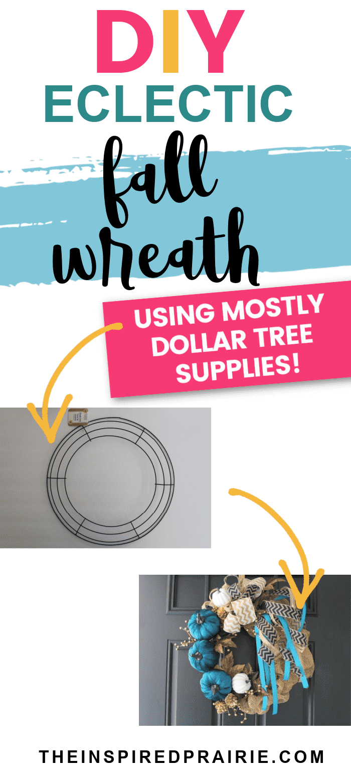 DIY Fall Eclectic Wreath tutorial. Create your own Fall wreath using supplies from the Dollar Tree.