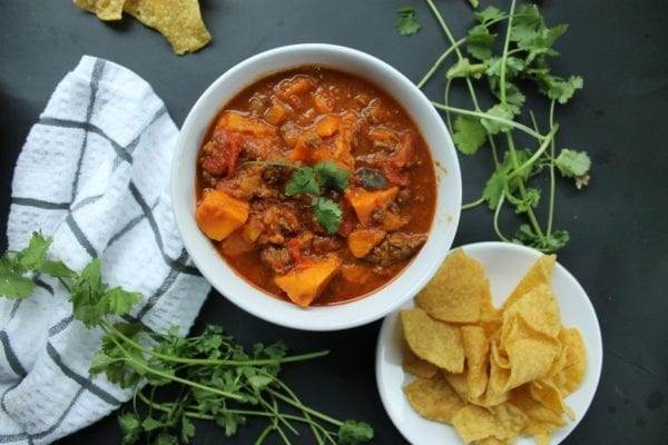 Instant Pot Sweet Potato + Pumpkin Chili (Whole30, Paleo, Gluten-free)