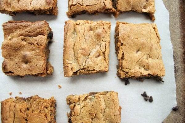 Chewy Chocolate Chip Cookie Bars (Gluten-Free). Almond Flour chocolate chip cookie bars.