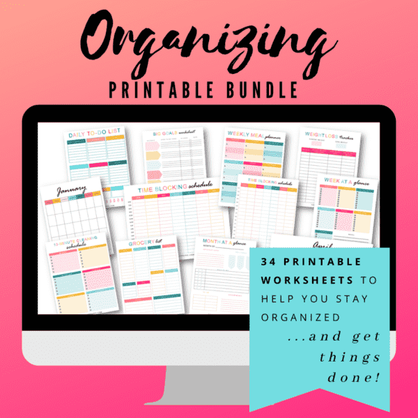 Using Printables to Help You Stay Organized. How to use printables to stay organized. Daily to-do printable, weekly printable, month at a glance, weight loss tracker, time blocking schedule, grocery list, monthly calendars and more!