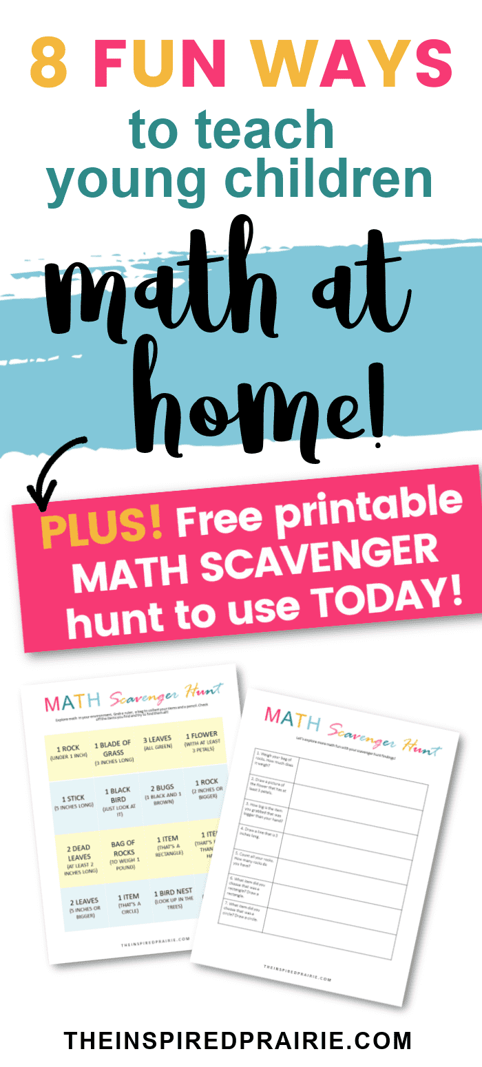 8 fun ways to teach your young children math at home. Plus FREE printable math scavenger hunt! Let math become natural in your homeschooling!