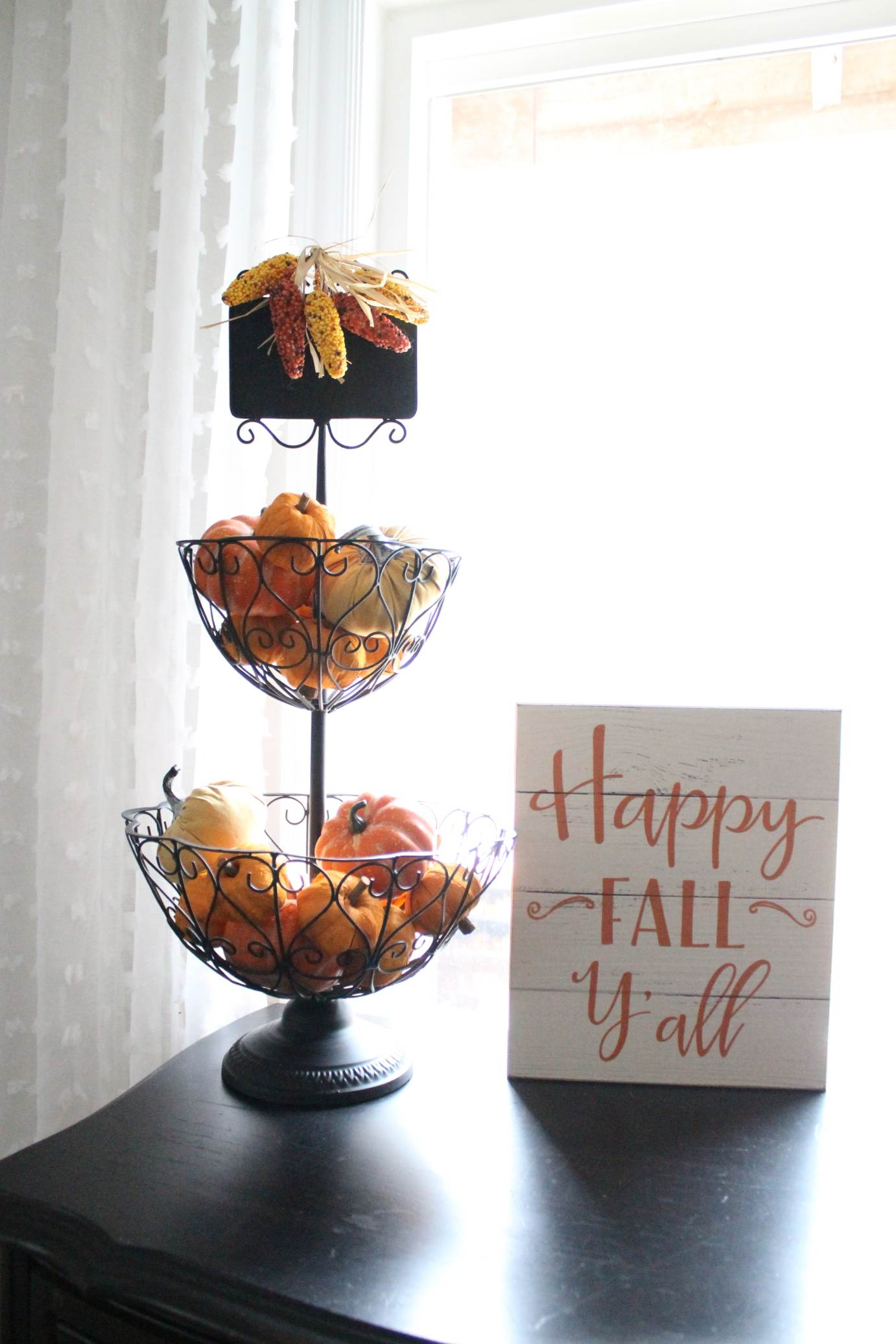 Here is my fall home tour! Black and white buffalo check, creams, whites, and robin's egg blue in the living room. Orange and yellow for my sitting room hutch, and deep wine, burgundy, gold, and pinks for my kitchen.