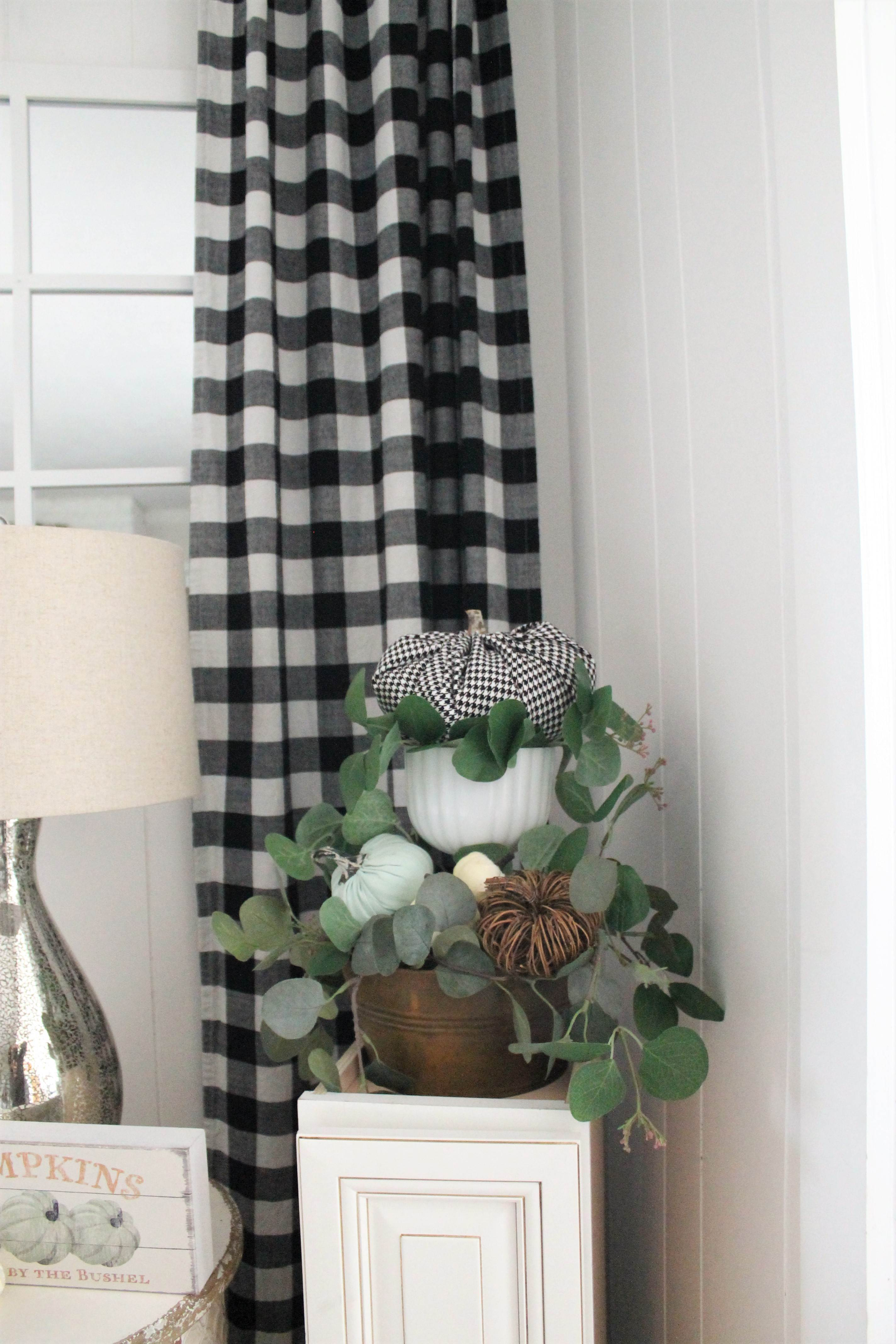 black and white buffalo check curtains in my fall living room