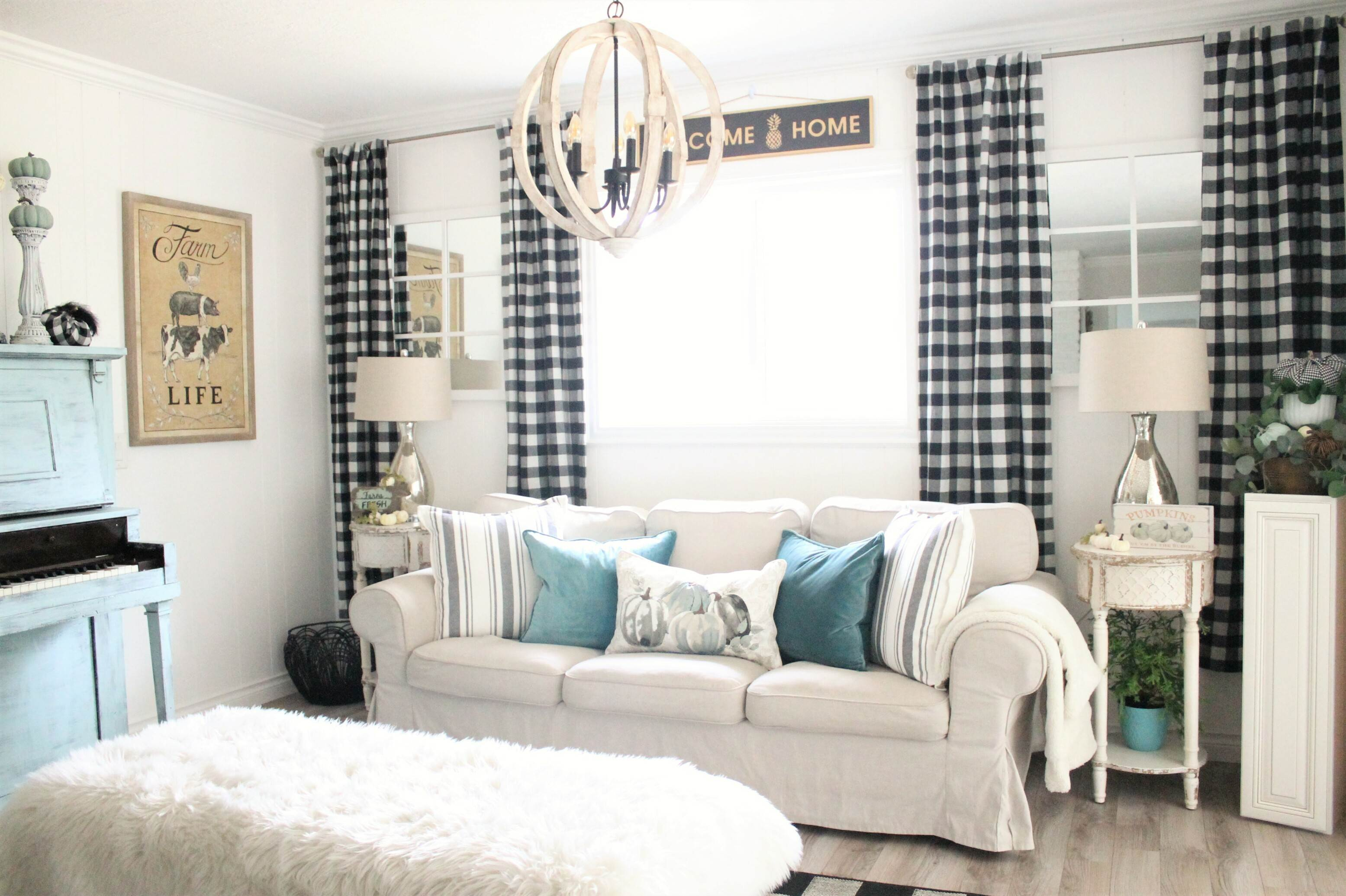 fall living room decor with black and white buffalo check and robin's egg blue in my living room. Cute pumpkin pillows.