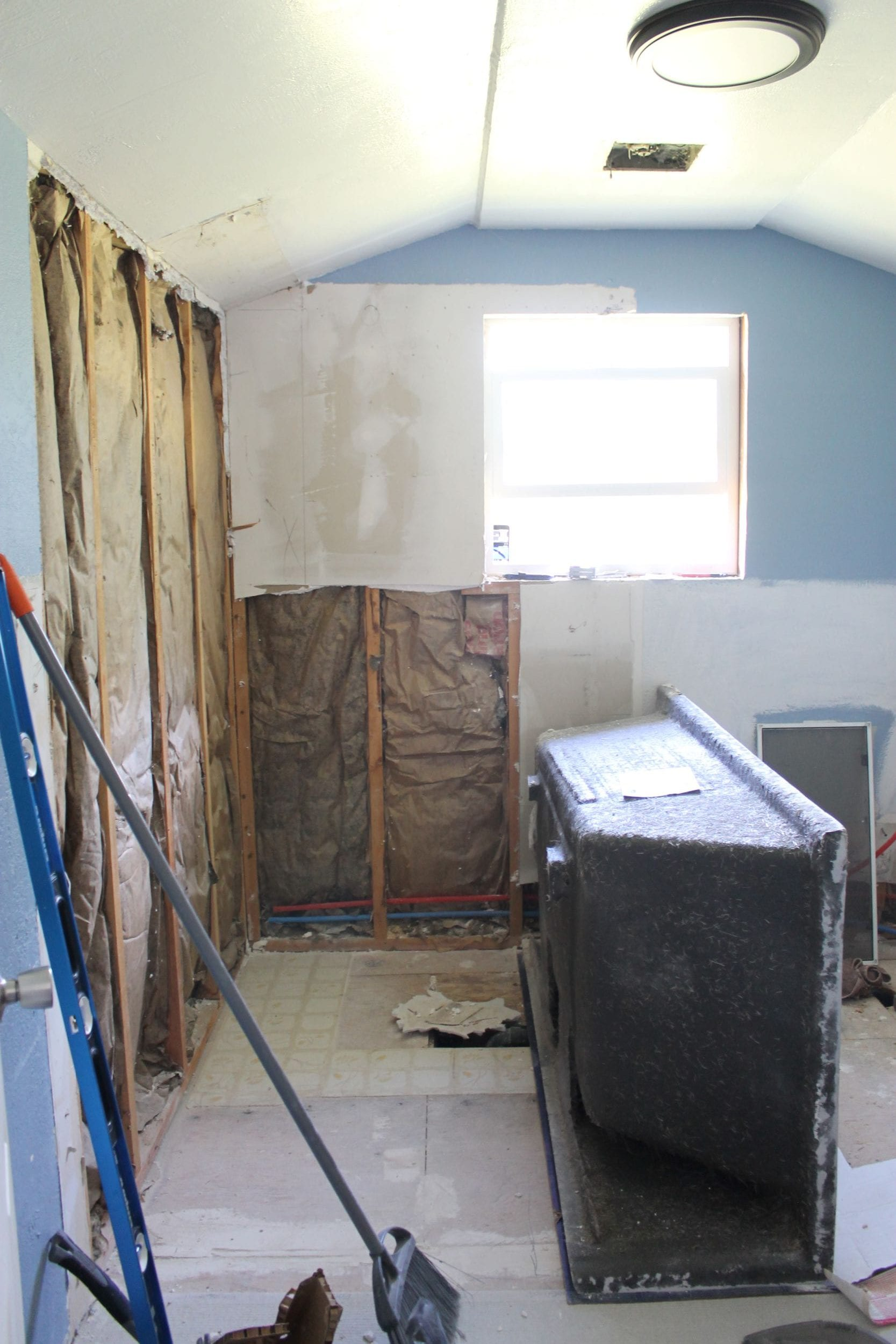 adding in a bathtub to our small bathroom remodel