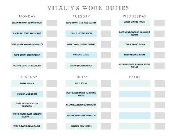 sample of 7-year old work duties and chore chart
