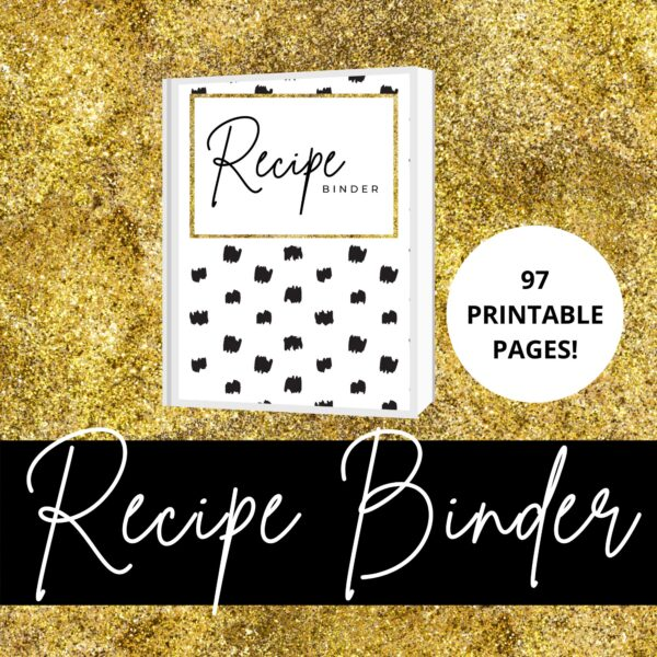 Kate Spade inspired Recipe Binder Printables. Black and white and gold